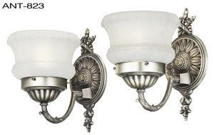 Antique Wall Sconces 1920s Pair of Edwardian Style Light Fixtures (ANT-823)