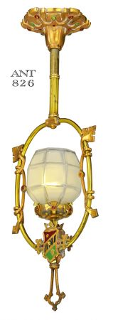 Antique Edwardian Pendant Light Polychrome Heraldic Ceiling Fixture (ANT-826)