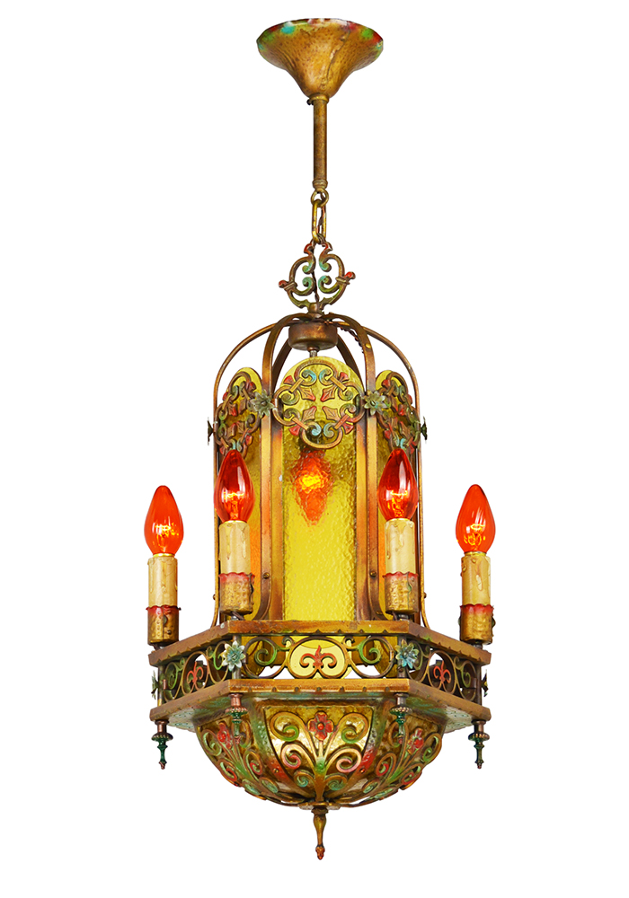 Vintage Hardware Amp Lighting Antique 1920s Chandelier Polychrome Candle Type Ceiling Light