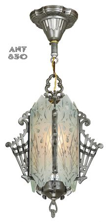 1930s Art Deco Hall Light Cut Glass Antique Pendant Ceiling Fixture (ANT-830)