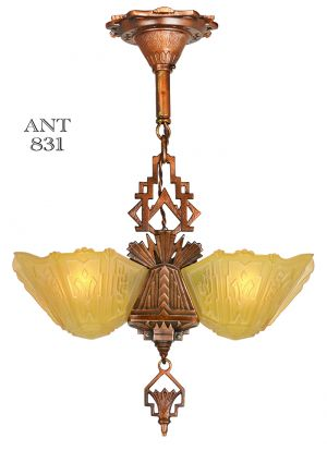 Art Deco 2 Light Slip Shade Antique Pendant Ceiling Fixture by Markel (ANT-831)
