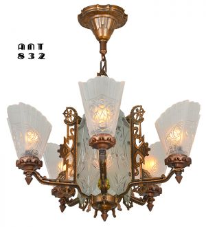 Art Deco 6-Light Chandelier Original Red Bronze Finish and Cut Glass (ANT-832)