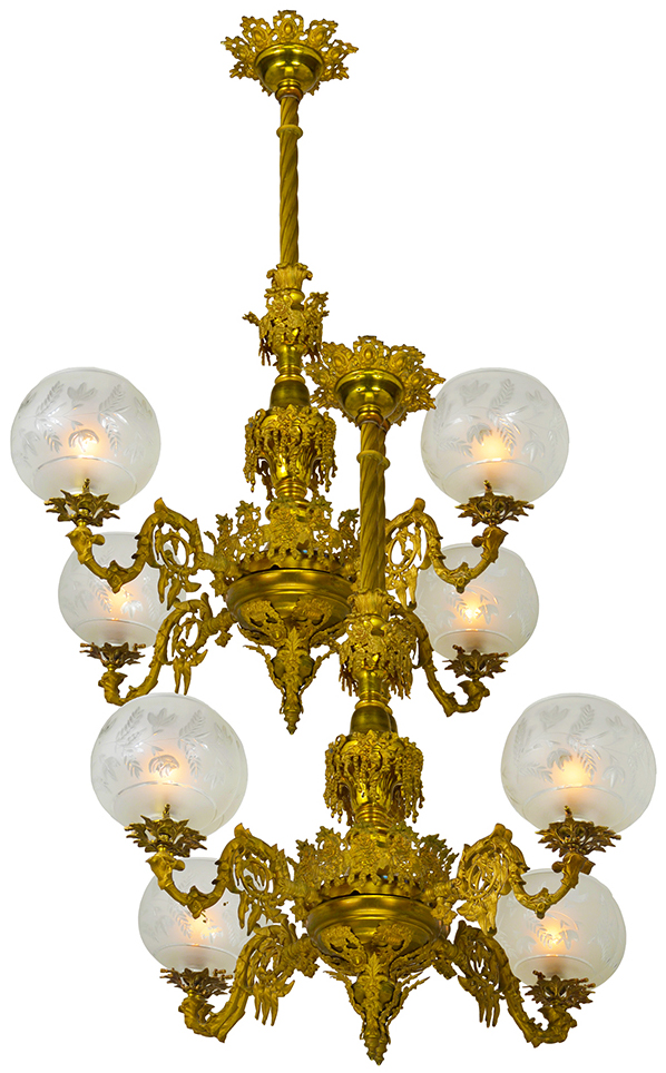 Pair Of Antique Chandeliers Victorian Neo Rococo 4 Arm Gas Lighting Ant 834