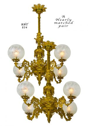 Pair of Antique Chandeliers Victorian Neo Rococo 4 Arm Gas Lighting (ANT-834)