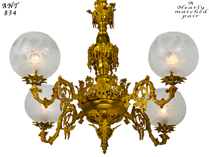 Vintage hardware lighting pair of antique chandeliers victorian description aloadofball Image collections