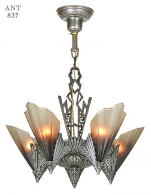 Art Deco Rewired Antique Chandelier Slip Shade Ceiling Light Mid West (ANT-837)