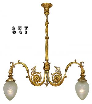 Antique Brass 2 Arm Hall Pendant Light - Late Victorian or Edwardian (ANT-841)