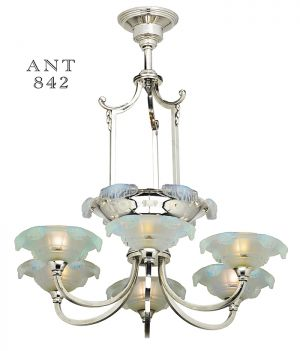 Antique French Art Deco Chandelier 6 Arm Frozen Icicle Ceiling Light  (ANT 842)