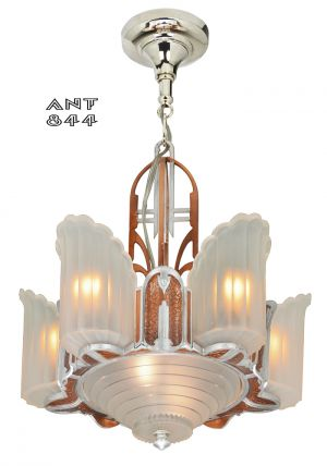 Art Deco Streamline Slip Shade Chandelier Mid West Mnf 1930s 6-Shade (ANT-844)