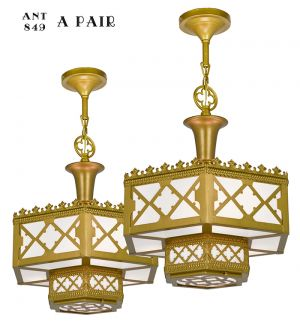 Pair of Antique Chandeliers Gothic or Arts and Crafts Ceiling Lights (ANT-849)
