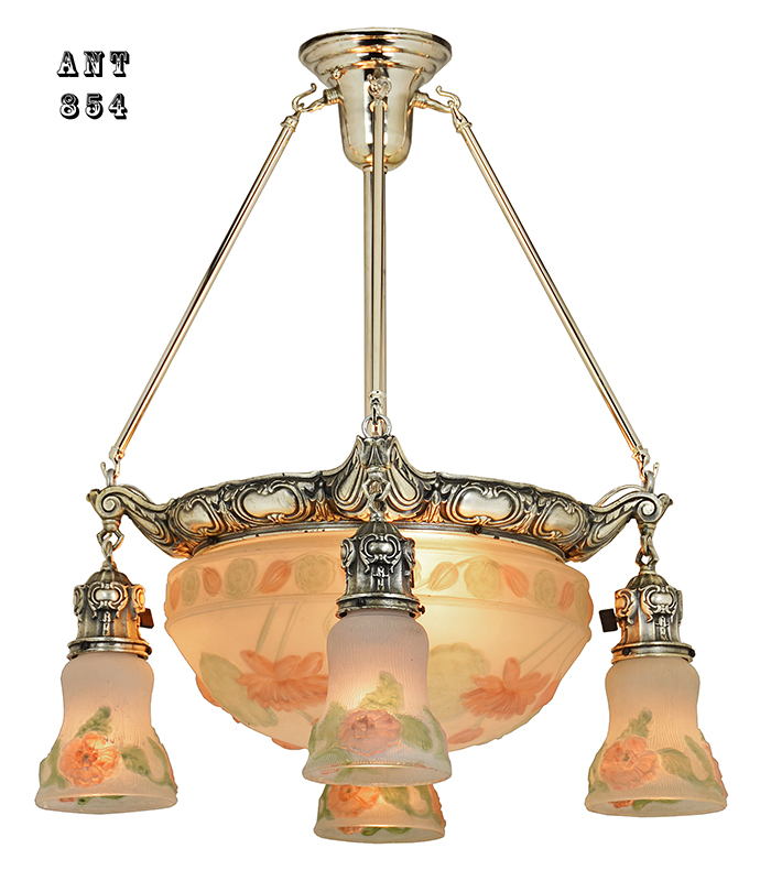 Antique Chandelier Edwardian Puffy Style Ceiling Bowl Light Fixture Ant 854
