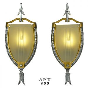 Streamline Deco 30s Wall Sconces Pair Slip Shade Zephyr Arrow Lights (ANT-855)