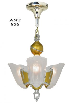 Art Deco 3 Light Chandelier Antique 1930s Slip Shade Ceiling Fixture (ANT-856)