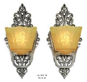 Art Deco Wall Sconces Pair of Antique Slip Shade Lincoln Nile Lights (ANT-857)