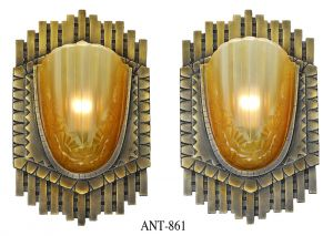 Art Deco Pair Large Bronze Sconces French Slip Shade Antique Lights (ANT-861)