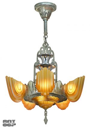 Art Deco 1930s Chandelier by Globe Lighting Antique Slip Shade Light (ANT-867)