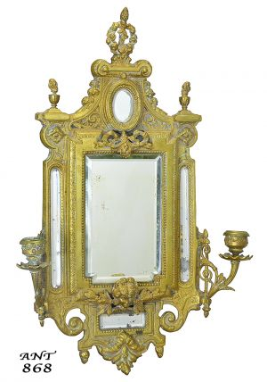 Antique Wall Mirror Edwardian Cast Brass Bronze 2-Arm Candle Sconce (ANT-868)