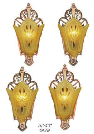 Set of 4 Antique Art Deco Sconces Original Red Bronze Finish Lights (ANT-869)