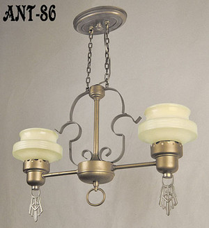 Arts and Crafts Style Antique 2 Light Ceiling Pendant Original Fixture (ANT-86)