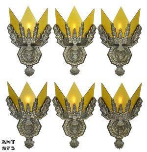 Marvelous Art Deco Pair Of Wall Sconces Circa 1930s Vintage Lighting Fixtures  (ANT 873)