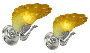 Art Deco Style Pair of Peacock Wall Sconces French Slip Shade Lights (ANT-875)