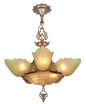 Vintage 1930s Chandelier Art Deco Slip Shade Ceiling Light by Markel (ANT-876)