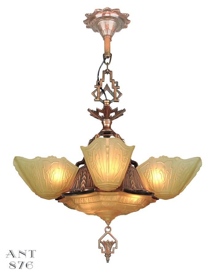 Vintage hardware lighting vintage 1930s chandelier art deco slip vintage hardware lighting vintage 1930s chandelier art deco slip shade ceiling light by markel ant 876 aloadofball Gallery