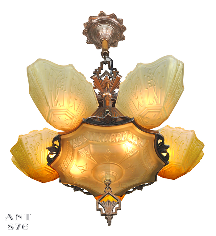 Vintage hardware lighting vintage 1930s chandelier art deco slip vintage hardware lighting vintage 1930s chandelier art deco slip shade ceiling light by markel ant 876 mozeypictures Gallery