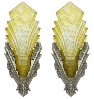 Art Deco Wall Sconces by Consolidated Glass and Moe Bridges Lighting (ANT-879)