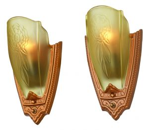 1930s Pair Art Deco Wall Sconces Glass Slip Shade Lights by Puritan (ANT-881  sc 1 st  Vintage Hardware u0026 Lighting & Vintage Hardware u0026 Lighting - Antique Reproduction Wall Sconces