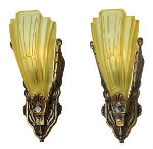 Art Deco Pair of Antique Slip Shade Sconces by Globe Lighting Fixture (ANT-882)