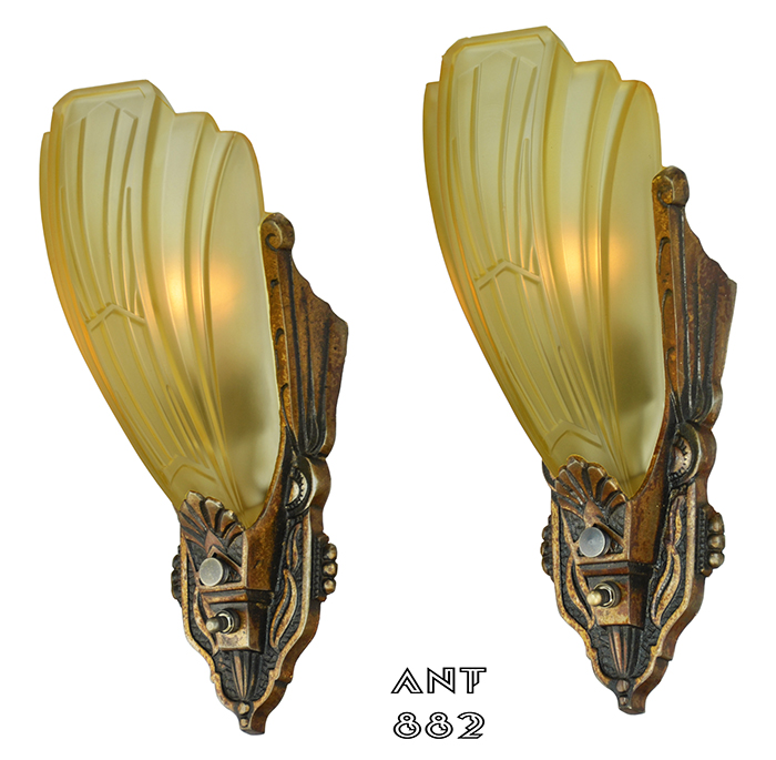 Vintage Hardware & Lighting - Art Deco Pair of Antique Slip Shade ...