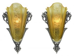 Art Deco Antique Sconces Pair Slip Shade Wall Lights by Consolidated (ANT-883)