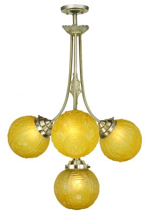 Art Nouveau or Deco Antique Chandelier 4-Arm French Fixture Ca. 1900s (ANT-884)