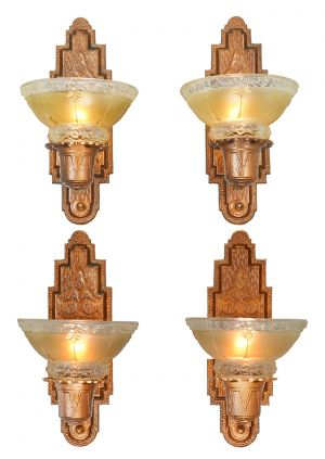 Set Of Four Antique Red Bronze Finish Sconces Circa 1910s Wall Lights  (ANT 885