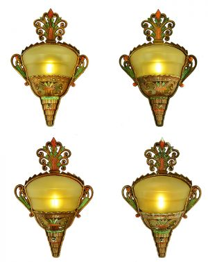 Art Deco Slip Shade Sconces Set of 4 Antique Polychrome Wall Lights (ANT-886)