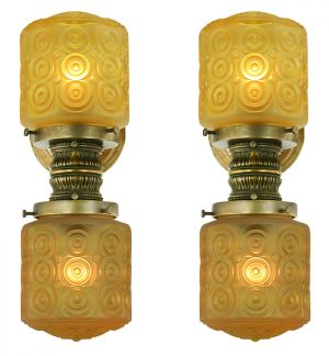 Pair of Antique Elevator Wall Sconces Edwardian Style Lights Lighting (ANT-888)