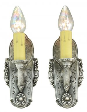 Pair of Edwardian Candle Style Sconces 1920s Bare Bulb Wall Lights (ANT-892)