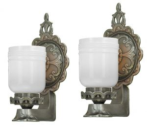 Pair of Antique Wall Sconces Circa 1920s Edwardian Style Lights (ANT-893)