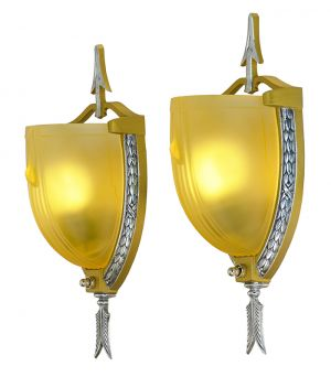Art Deco Streamline 1930s Sconces Pair Antique Wall Lights Mid-West (ANT-894)