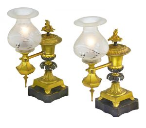 Early Victorian Pair 19th Century Antique Argand Lamps Table Lights (ANT-895)