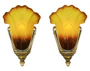 Antique Slip Shade Art Deco Sconces Pair Mid West 1930s Wall Lights (ANT