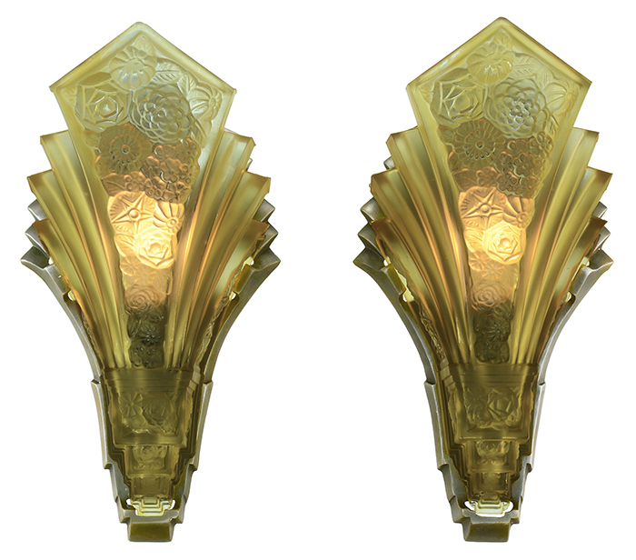 Vintage Hardware Amp Lighting Pair Of Art Deco Martele Sconces Vintage 1930s Slip