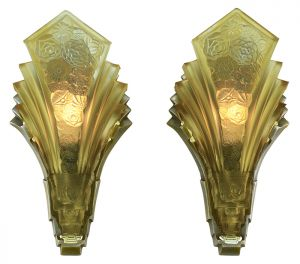 Pair of Art Deco Martele Sconces Vintage 1930s Slip Shade Wall Lights (ANT-897)