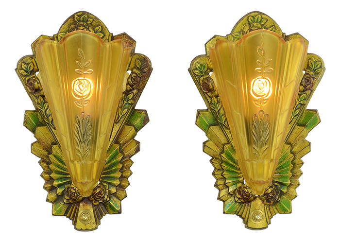 Vintage Hardware Amp Lighting Art Deco Wall Sconces Pair
