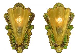 Art Deco Wall Sconces Pair of Antique Polychrome Slip Shade Lights (ANT-899)