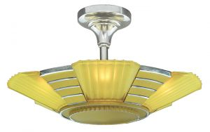 Art Deco 1930s Close Ceiling 5 Light Semi Flush Mount Chandelier (ANT-900)