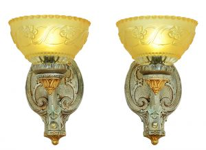 Antique Pair Rewired Wall Sconces Turn of the Century Light Fixtures (ANT-901)