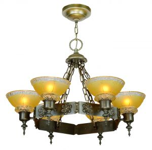 1920s Chandelier 6 Light Arts And Crafts Steel Ring Ceiling Fixture Ant 902