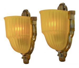 Streamline Deco Antique Wall Sconces Pair Slip Shade Lights by Markel (ANT-903)